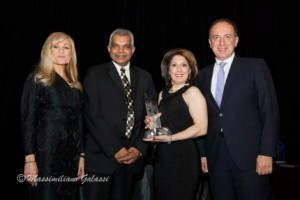L-R: Vivian Risi (Royal LePage Your Community Realty – Sponsor Small Business of the Year Award), Cameraworks Productions International: Reddy Sampath (Founder/President) and Nancy Benetton (CEO & Executive Producer) and Honourable Mayor Maurizio Bevilacqua (City of Vaughan)